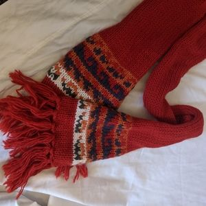 Vintage 70s/80s red wool long scarf with fringe